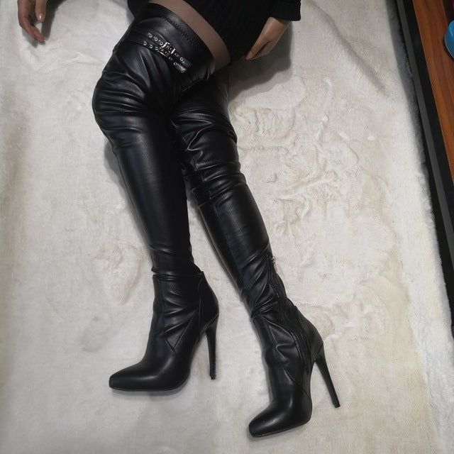 Over Knee  Buckle Strap Boots