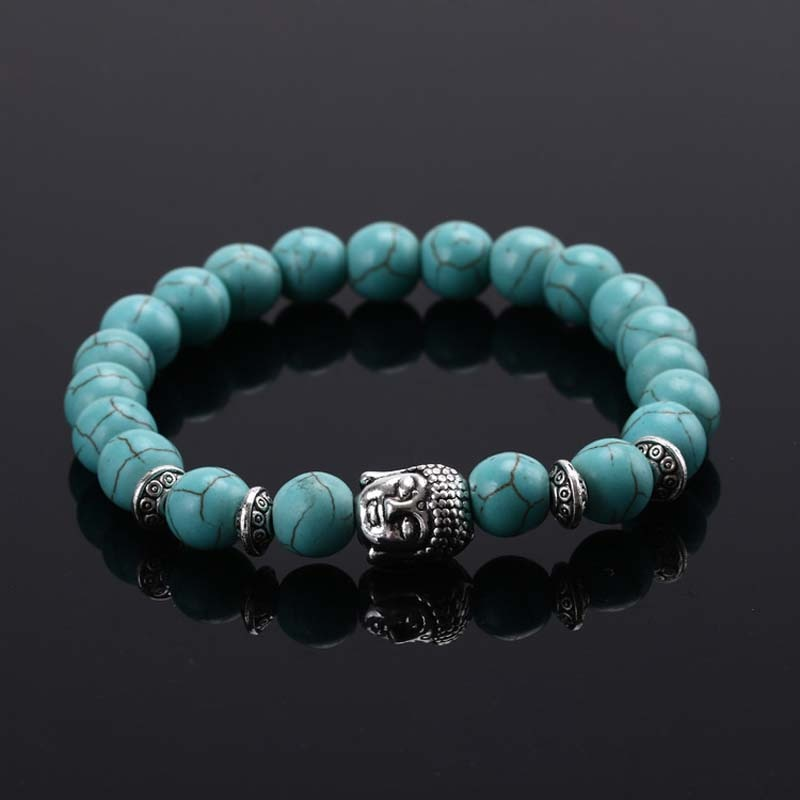 Bangle with White Howlite Malachite Lava Buddha Beads