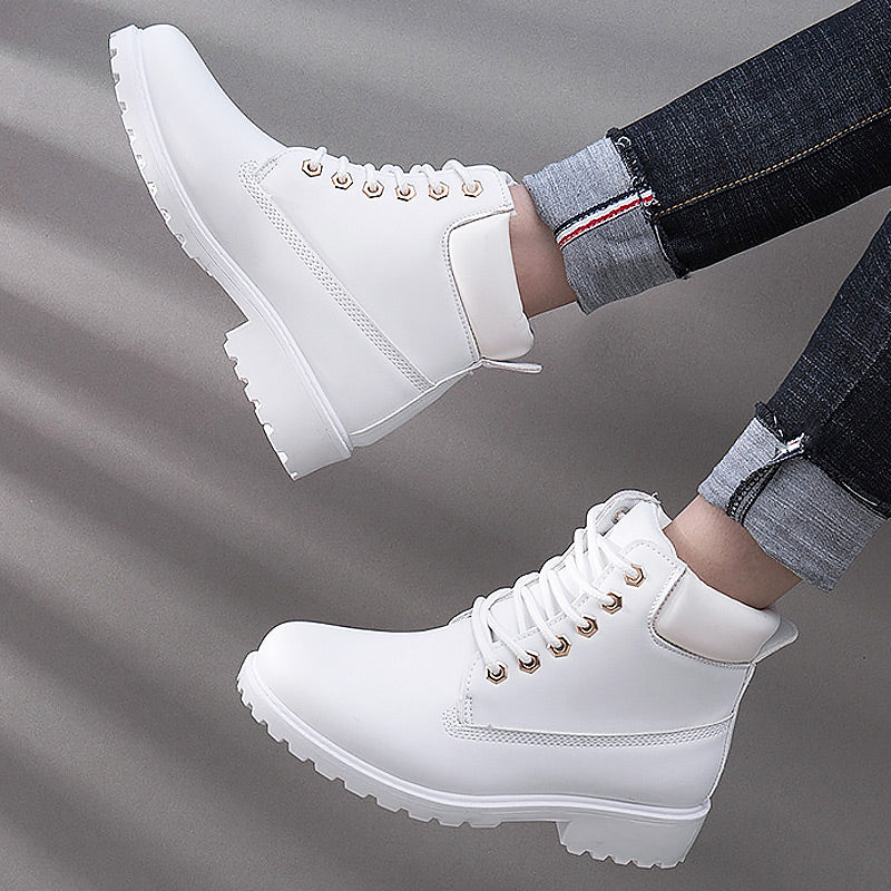 Winter boots women lace-up winter ankle boots