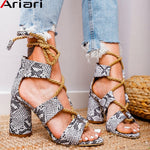 Ariari Women Sandals Lace Up Summer Shoes Woman Heels Sandals Snake Print Fish Mouth Gladiator Sandals Hemp Rope High Heels