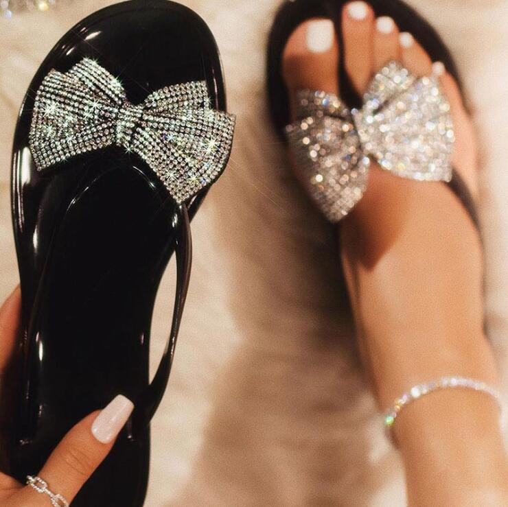 pinch bow flash drill sandals /slippers women's fashion wild rhinestone flip-flops