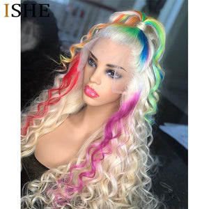 Lace Front Human Hair Curly Colored Human Hair Wigs preplucked