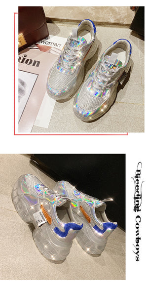 Transparent Sneakers Harajuku Ladies Platform Jelly Shoes Laser Casual Shoes Shining Running Footwear
