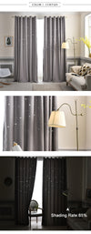 white Modern Hollow Star Faux Linen Blackout Curtains for Living Room Bedroom