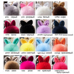 Pom Pom Keychains Fake Rabbit fur ball key chain porte clef pompom de fourrure fluffy Bag Charms bunny keychain Keyring