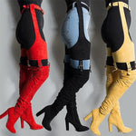 Over Knee with waist Strap Solid Pointed toes - Neshaí Fashion & More
