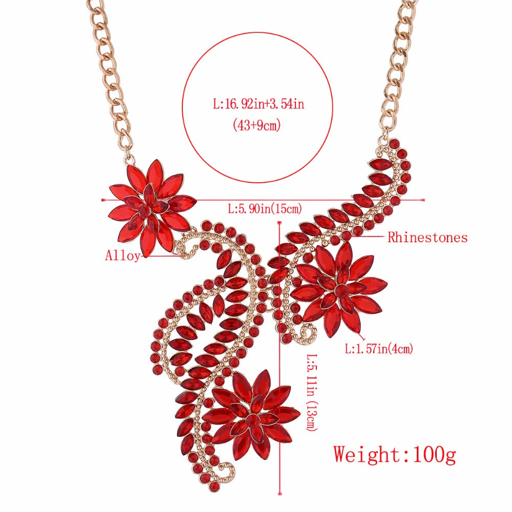 Dragons Crystal Flowers Collar Necklace Gold Big Choker Necklace for Women