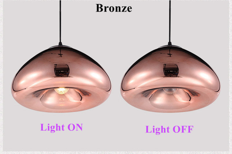 Modern Gold Bronze Silver Shade Mirror Pendant Light E27 LED Glass