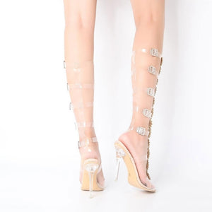 Open Toe T-strap Rhinestone  High Heels