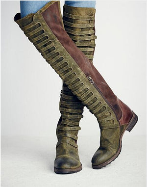 over the knee boots velvet army combat boots