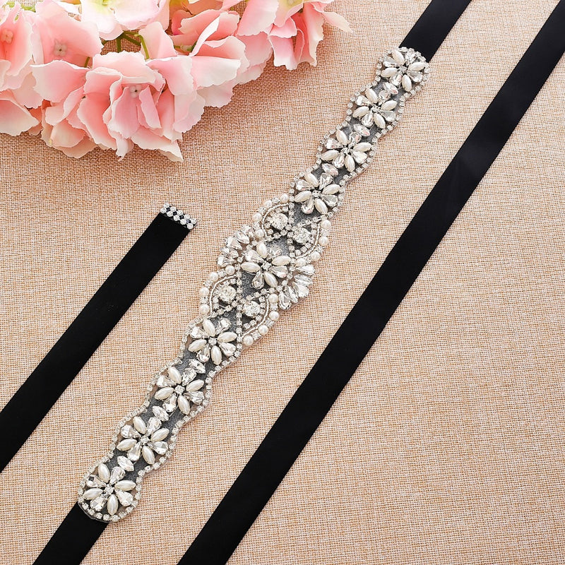 Rhinestones satin Bridal Sash For wedding dress accessories J130