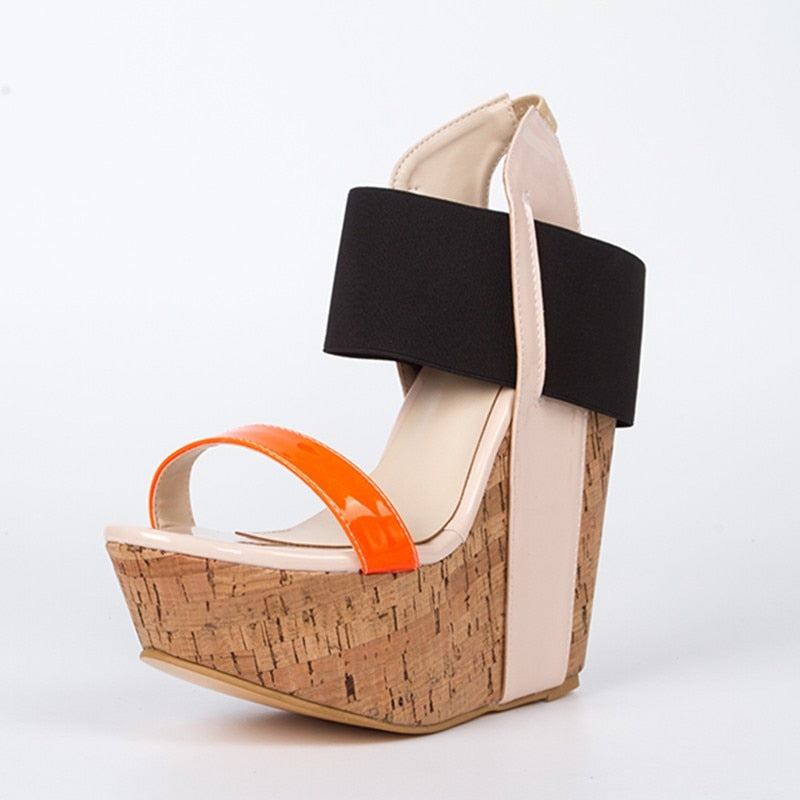 multicolored leather, 15 cm wedges sandals, women's sandals. SIZE:34-45