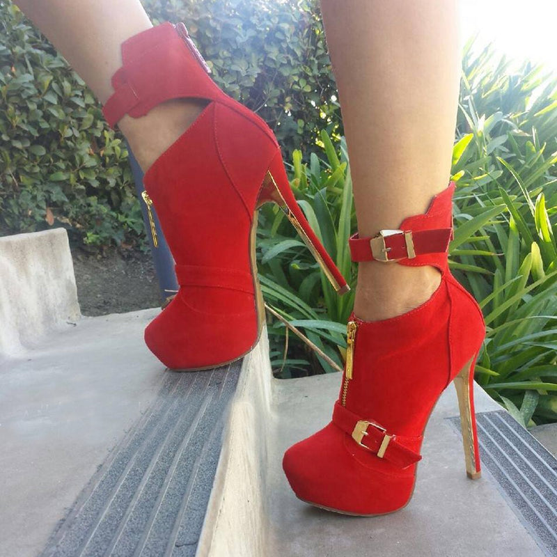 red cashmere leather, 14.5 cm high heel boots, ankle boots. SIZE:34-45
