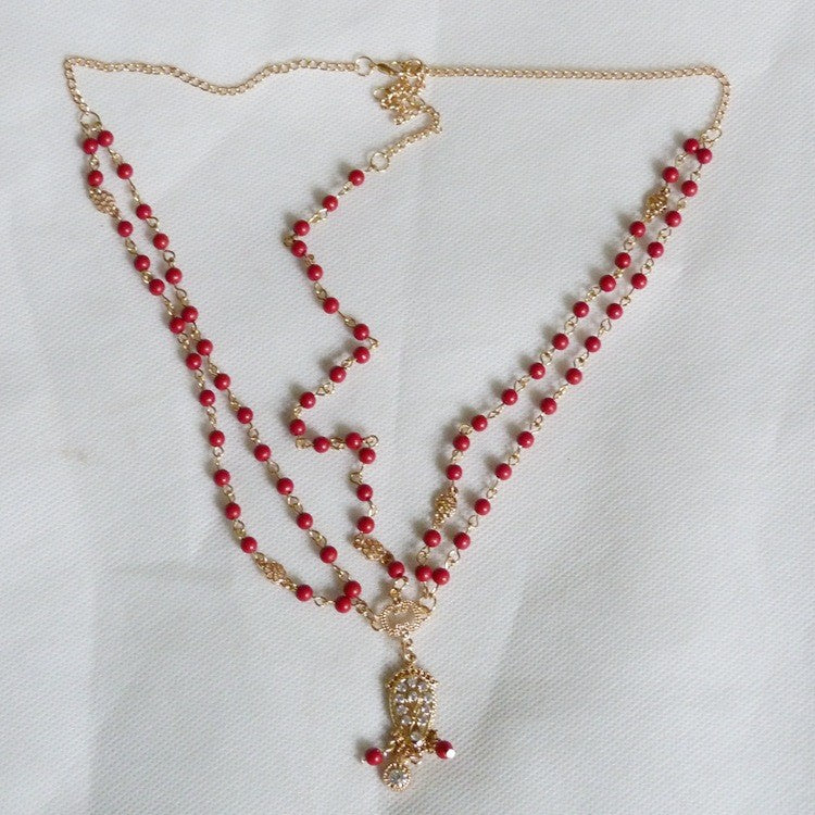 indian boho white/red beaded hair jewelry