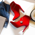 Pointed Toe Flock Footwear