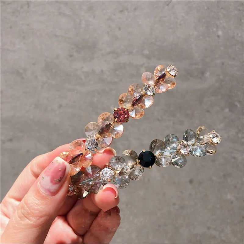 Crystal Flower Barrettes Hairgrips