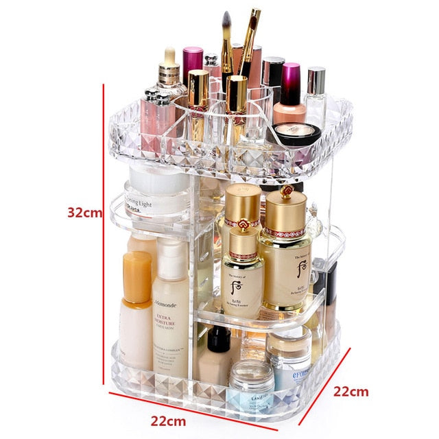New Arrival L shape 360 degrees spinning makeup organizer storage box multifunctional spinning makeup storage lipstick box