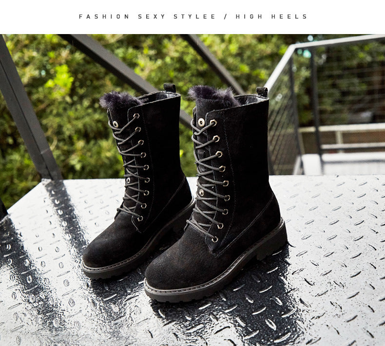 Lace-Up  furry boots