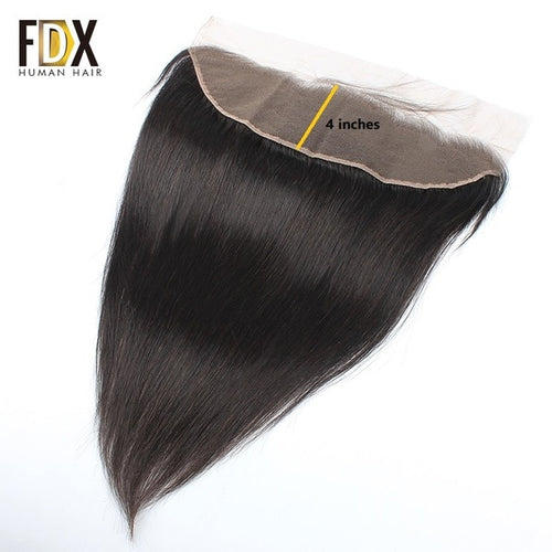 FDX Indian Straight Hair 3 Bundles With Frontal 100% Human Hair