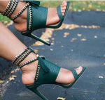 Textured chained High Heels