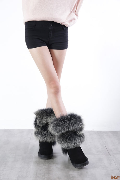 Sheepskin Suede Leather Wool Fur Lined Winter Shoes Black Grey