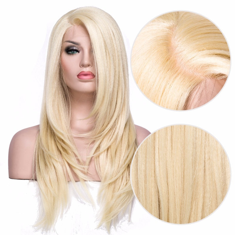 Synthetic Lace Front Wig Transparent Lace Yaki Straight