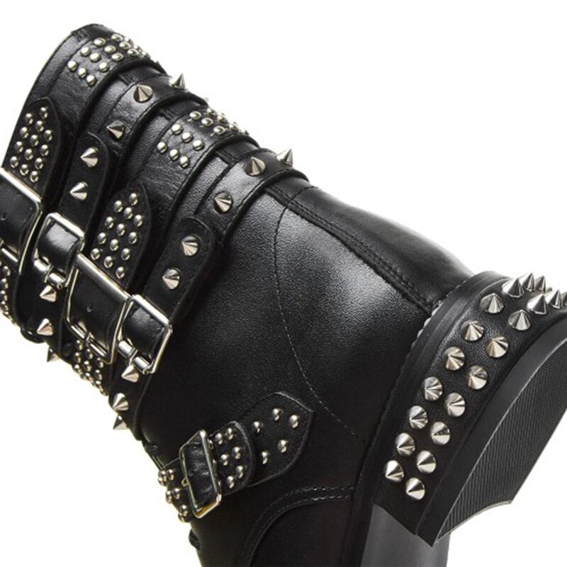 Sexy Rivets Low Heels Boots Round Toe Charm Black Shoes Women US Size 4-8.5