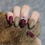 Matte Glitter bowknot Press On nails