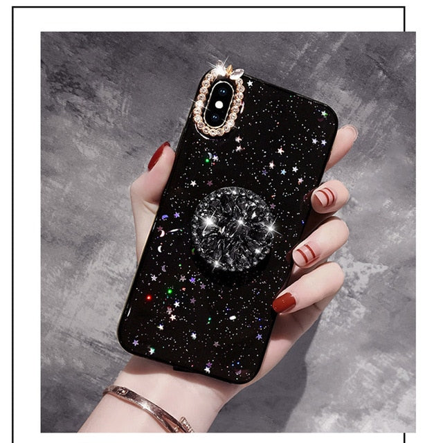 Twilighter marble diamond ring holder silicone phone case for iphone 7 8 6 S plus X XR XS 11 Pro MAX for samsung S8 S9 S10 Note 8 9