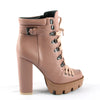 PU Leather Fashion Platform Ankle Boots Women 12cm Thick Heel
