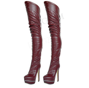 Thigh High Faux Leather Platform Boots