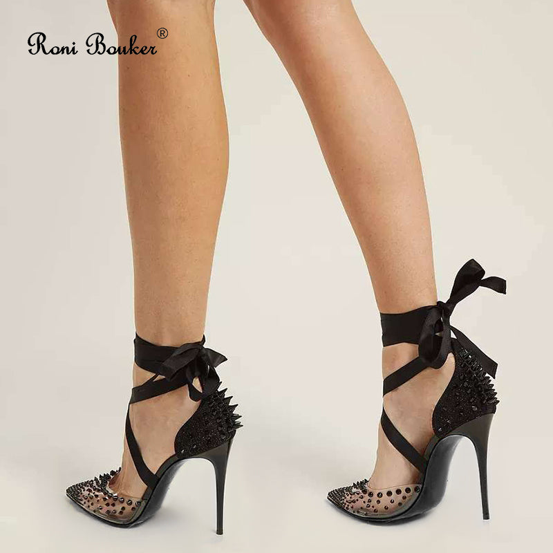 Sassy Black Lace Up Woman Heel Spikes Pumps