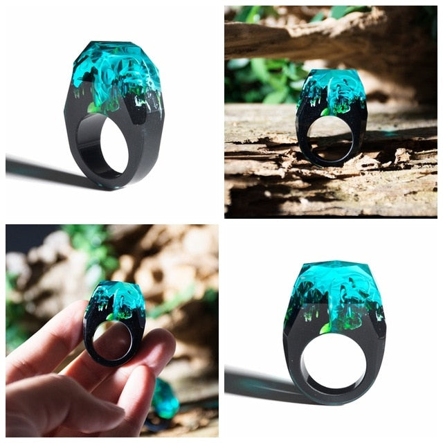 Clear Wood Resin Ring Fashion Handmade Dried Flower Epoxy - Neshaí Fashion & More
