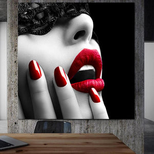 Red Lips And Nails Canvas Painting Wall Picture For Bedroom Unframed