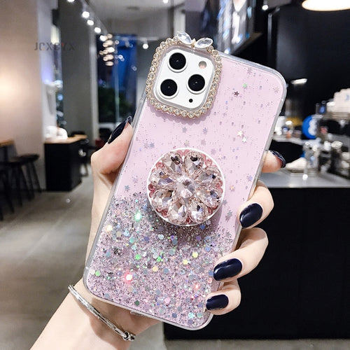 Pink Glitter marble diamond ring holder silicone phone case for iphone 7 8 6 S plus X XR XS 11 Pro MAX for samsung S8 S9 S10 Note 8 9 - Neshaí Fashion & More