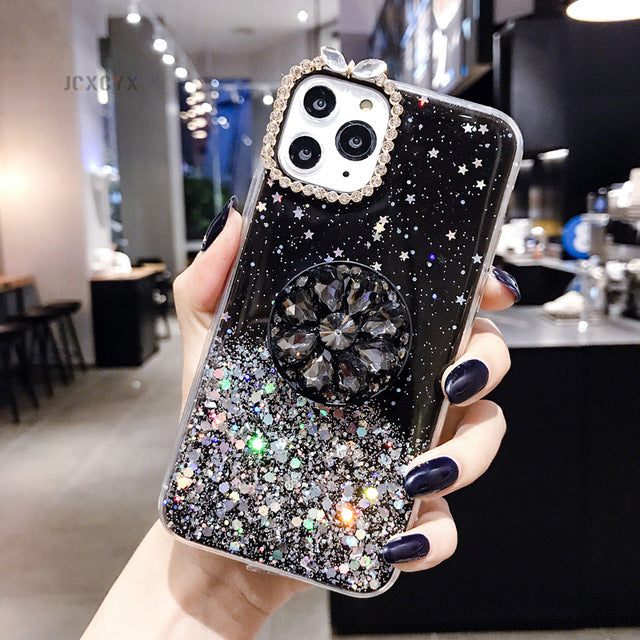 Black Glitter marble diamond ring holder silicone phone case for iphone 7 8 6 S plus X XR XS 11 Pro MAX for samsung S8 S9 S10 Note 8 9
