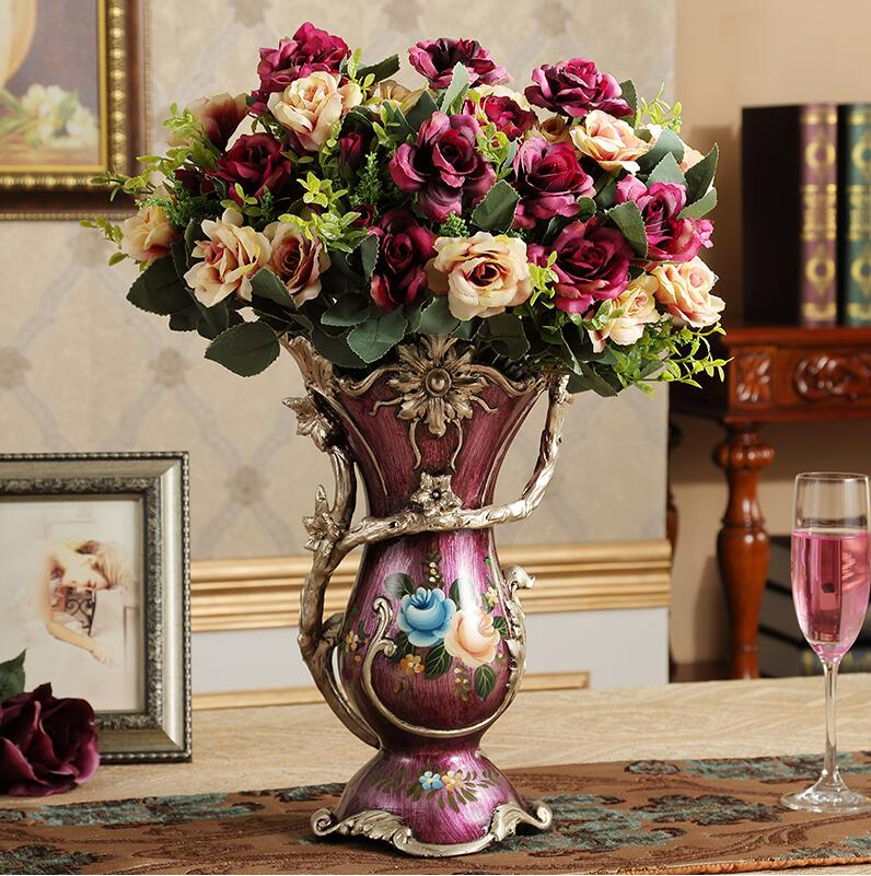 Luxury European Retro Resin VaseArrangement Figurine Decor
