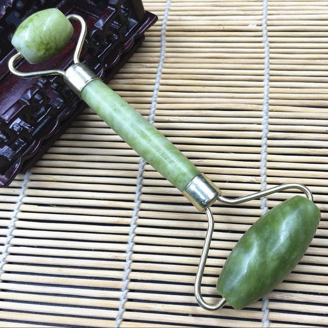 Double Head Green Jade Roller Elliptical Massager