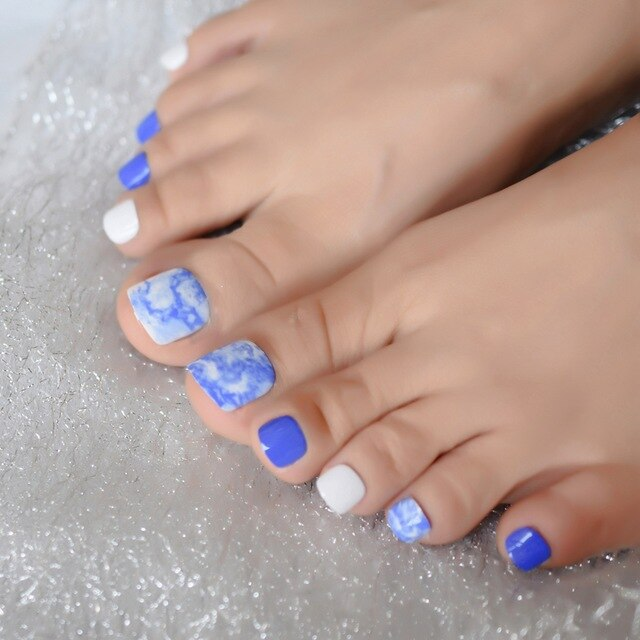 Blue Marble Toe nails False Pattern Mix Color Artificial
