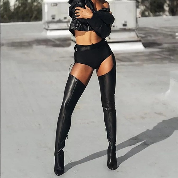 PU Leather Over Knee boots