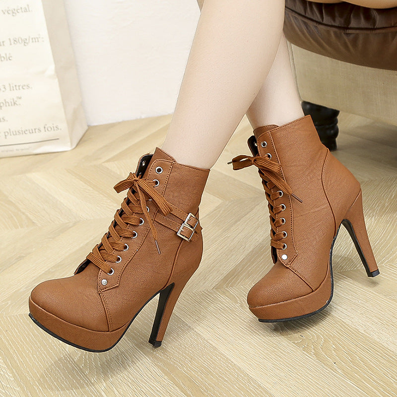 Cute Platform  Leather Boots
