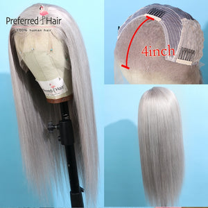 Red or Grey Straight 99j Lace Front Wig Preplucked