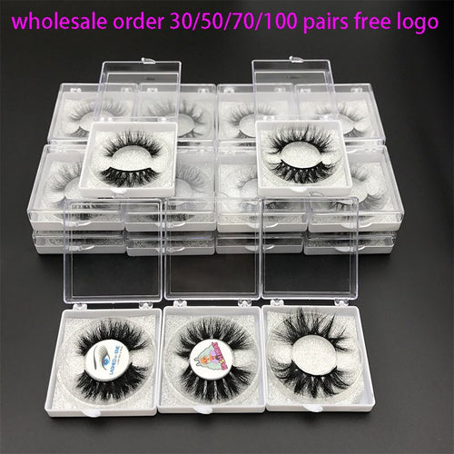 Wholesale Order 5D Mink lashes Custom Packaging Label Lashes with silver glitter Natural Long Thick Volume Mink EyeLash - Neshaí Fashion & More