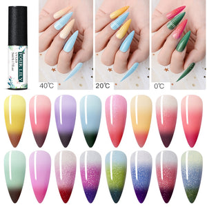 Holographic Glitter Temperature Soak Off UV Gel Nail Art Varnishes Long Lasting