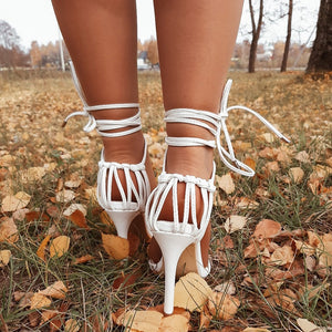 PU lace-up knot ladies high heel sandals