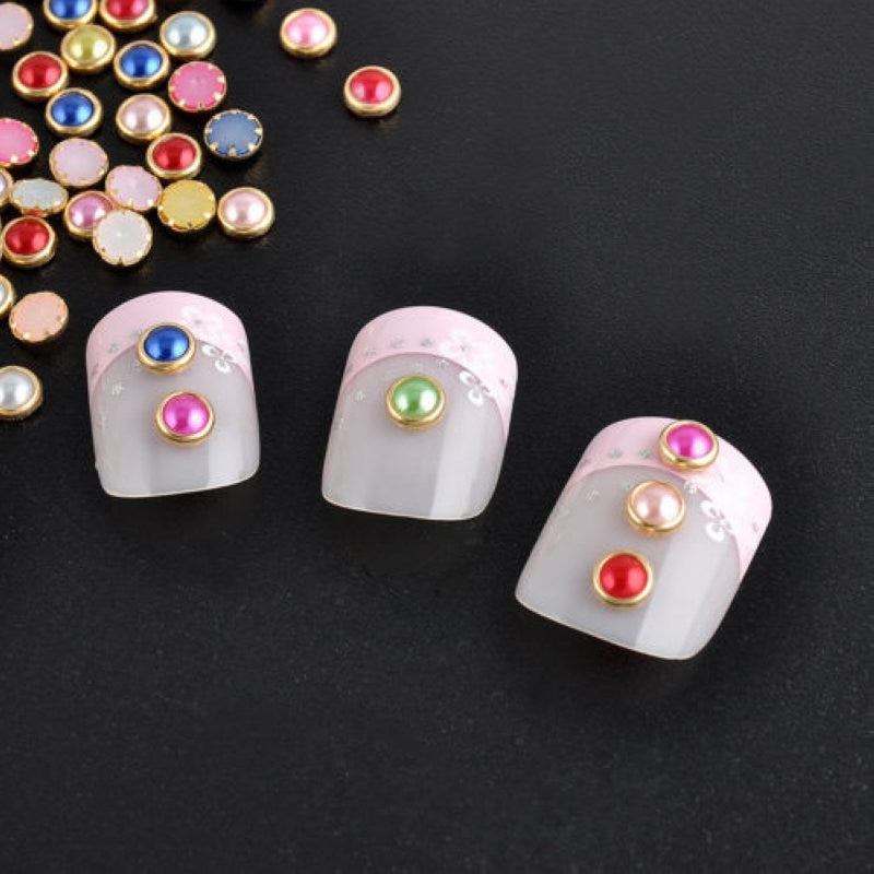 Shellhard 200Pcs Half Round Pearl Nail Decor 4mm Acrylic Bead Nail Art DIY Decor Glitter Rhinesto For Nail Art