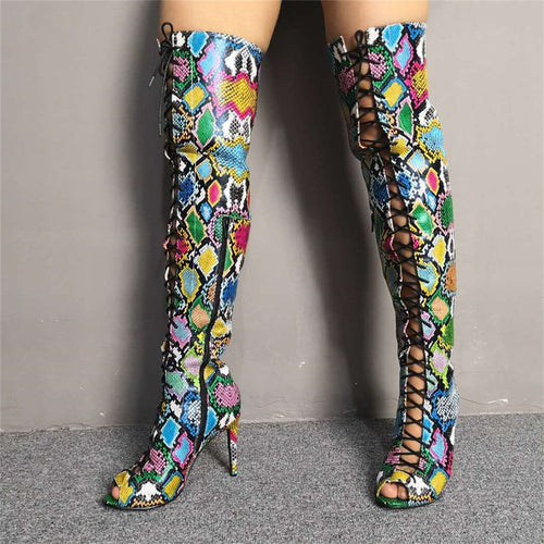 Colorful Snake Print Over The Knee Boots - Neshaí Fashion & More