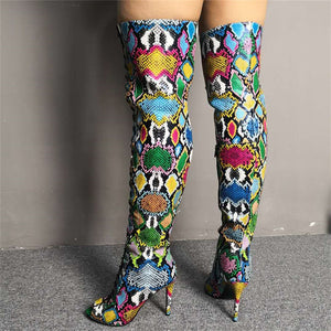 Colorful Snake Print Over The Knee Boots