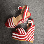 Nice Platform Peep Toe Wedges Sandals Red&White Stripes Woman US Plus Size 5-15 - Neshaí Fashion & More