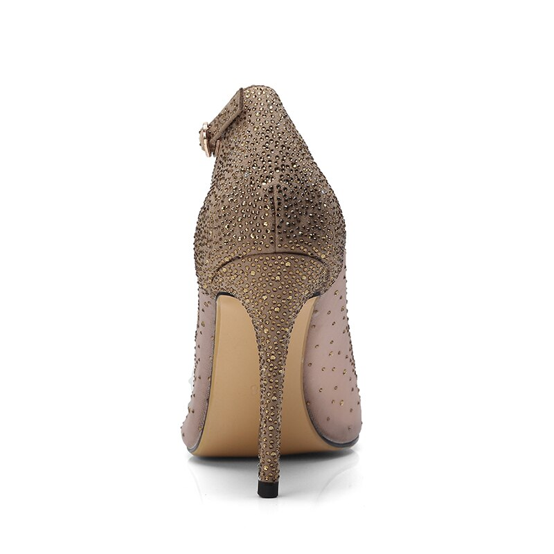 Sequins Thin High Heels Mature Lady Shoes Size5-10.5